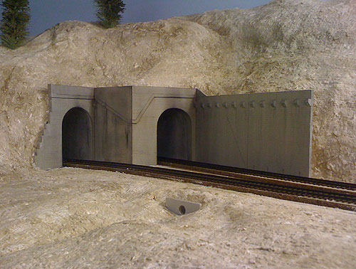 Close up of the scratch built HO Scale Andover Tunnels 13 and 42 above Donner Lake.
