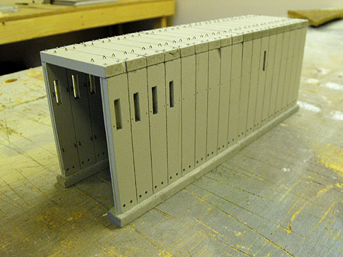 Donner Summit HO scale Tunnel 6 after fabrication showing wall and roof details and ready for weathering.