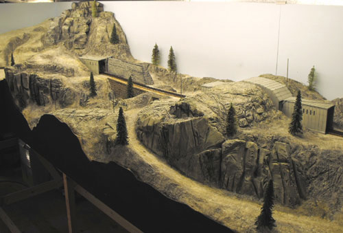 Scratchbuilt models of summit tunnel 7 and tunnel 8 on the Donner Summit HO Scale model railroad.