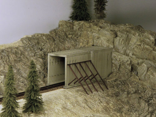 East portal of Tunnel 6 on the Donner Summit HO scale custom model railroad.