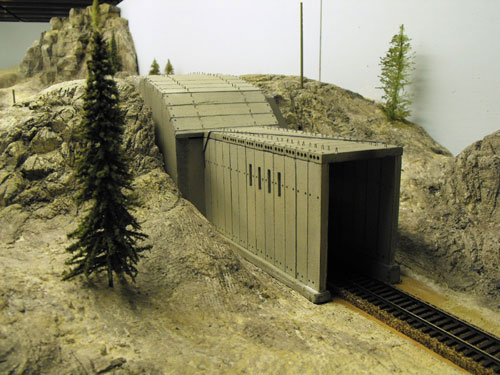 Close up photo of the summit tunnel number 7 on the Donner Pass Ho scale layout.