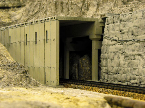 Donner Summit HO Scale Tunnel 8 and stacked stone Chinese Walls.