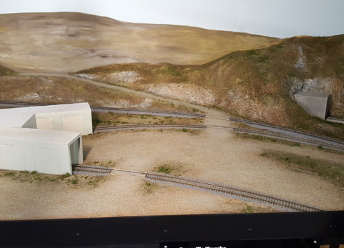Newly finshed scenery around the Southern Pacific's Norden covered turntable entrances.
