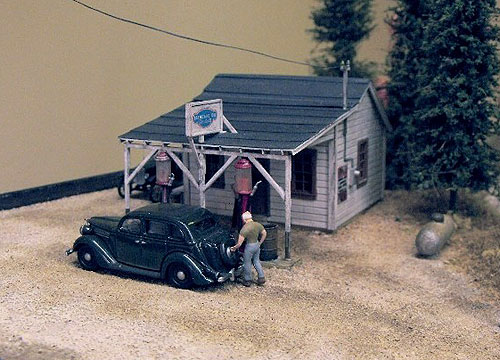 Completed Evergreen Hills Designs HO 1930's Gas Station wood craftsman kit.