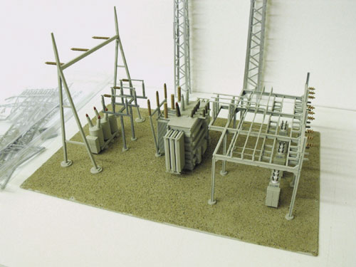 Walthers HO Northern Light and Power Substation assembled and painted model.