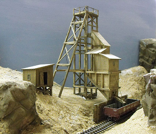 JV Models Burnt River Mining Co HO scale craftsman kit being assembled and test fit on the layout.
