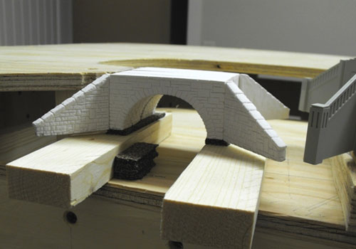 Monroe Models N scale Stone Arch Bridge kit shown during the assembly and test fitting stage.