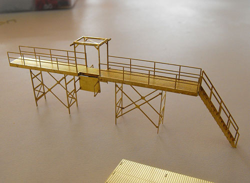Train Cat N Scale etched brass Oil Loading Platform model kit shown assembled before painting.